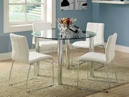5pc kona round glass top dining table set bold chrome legs glass top dining table set