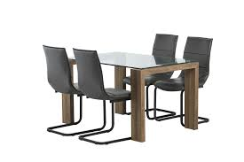 casa glass top dining table with rustic oak legs