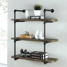 cast iron wall shelves b three tier faux wood industrial pipe shelf on black metal image 0 black iron pipe shelves