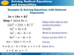 holt mcdougal algebra 2 solving radical equations and inequalities example 9 solving equations with rational