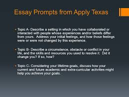 college essay writing things to remember make sure your essay is  5 essay prompts from apply texas