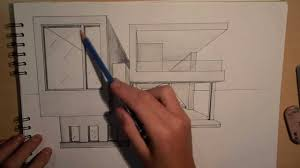 architectural house drawing. Beautiful House ARCHITECTURE  DESIGN 2 DRAWING A MODERN HOUSE 1 POINT PERSPECTIVE   YouTube Inside Architectural House Drawing W