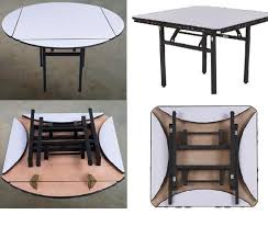 chinese style square and round foldable metal hotel restaurant dining table for