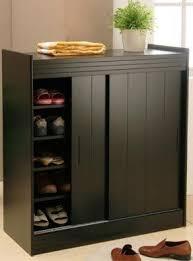 Black shoe cabinet with doors 2