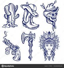 эскиз татуировки старой школы дикого запада модные западные набор