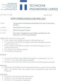 Completion Certificate Sample Provisional Work Completion Certificate Job Form Template Order