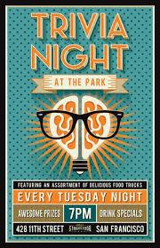 Trivia Night At The Park Trivia Event Poster Design Pub