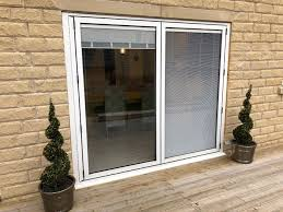 built in venetian blind bi fold door closed blind up