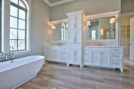 daltile southlake transitional bathroom and atwood custom home built in storage carillon dallas free standing tub