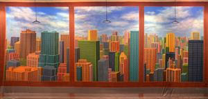 office backdrop. image of stylized office highrise scenic backdrop c
