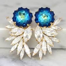 blue statement earrings swarovski chandelier earrings bridal earrings cocktail earrings big earring cocktail earrings wedding earrings 2536160 weddbook