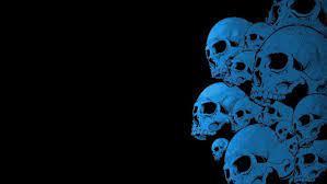 black background blue skull hd
