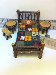 miniature doll furniture. 1 inch scale 8 piece rustic miniature dollhouse dh doll furniture bed table log cabin woodland