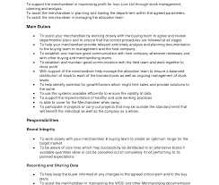 Visual Merchandising Resume Samples Garment Merchandiser Sample