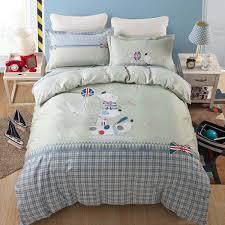 sweet light green cartoon dog polka dot print bedding set for kids home decor cotton bed