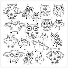 Small Picture Animals Coloring pages for adults doodle owls 2