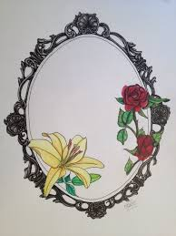 fancy hand mirror tattoo. Brilliant Tattoo Colorful Flowers In Frame Tattoo Design To Fancy Hand Mirror