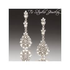pearl bridal chandelier earrings vintage style earings