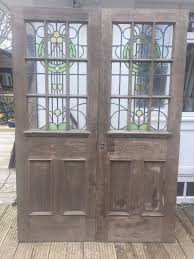 large stained glass doors french pair reclaimed antique period old oak leaded
