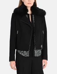 armani exchange faux fur collar wool moto jacket for women a x
