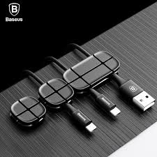 Baseus Cable Winder Flexible Silicone USB Cable Organizer Wire Cord  Management Cable Clip Holder For Mouse