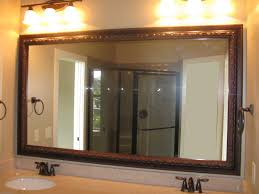 Bathroom Artistic Wood Mirror Frame With Rubbed Oil Faucet And