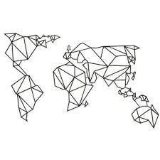 geometric world map wall art uk