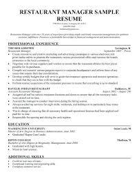 Sample Resume Of Hospitality Management Resume Example Restaurant