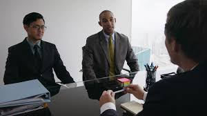 office meeting. 3 Business People Shaking Hands At Office Meeting With Advisor Stock Video Footage - Videoblocks 0