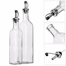 rhs 2pcs 16oz 500ml and 250ml glass olive oil dispenser vinegar bottle pourer spout cruet