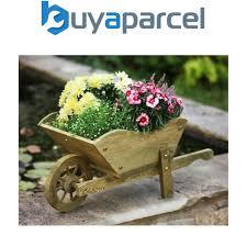 smart garden wooden wheelbarrow flower planter tan ornament 5020030