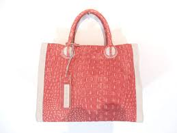 nicoli c red beige designer italian leather handbag purse tote bag ca shoes handbags