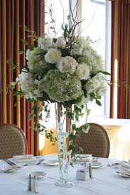 White Green Tall Wedding Centerpieces With Tall Vase