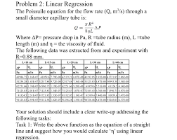 linear regression the poissuile equation for the