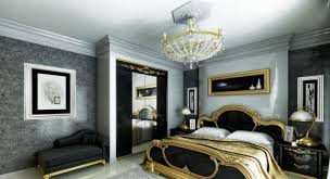 modern bedroom black. Black And Gold Modern Classic Spacious Bedroom T