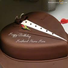 Birthday Cake For Husband Design Write Name On Chocolate Heart Happy