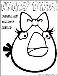 Female white Angry Birds Coloring pages Free Printable Coloring ...