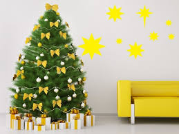 Yellow stars wall sticker - fun Christmas decoration idea