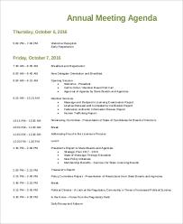 Annual Agenda Sample 9 Examples In Pdf