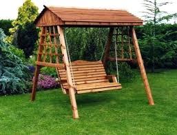 wooden garden swing bench dismantled for ease of handling instructions