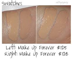 i swatched 125 and 128 next to mac studio fix fluid nc30 and nc40 for parison chagne pop make up forever ultra hd foundation