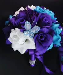 Amazon Com Wedding Bouquet 8 Turquoise Purple And White