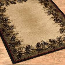 beddingnmore pinecone forest border lodge rug 2x3 2x8 runner 4x6 5x8 or 8x10