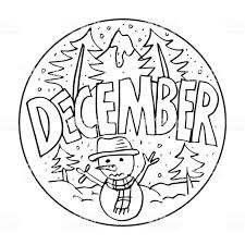 December Coloring Pages For Kids Stock Vector Art More Images Of