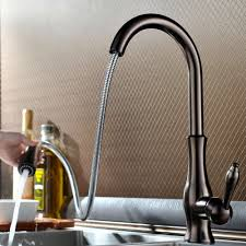Kitchen Faucets Pull Out Spray Tracier Gooseneck Single Hole Kitchen Faucet With Pull Out Spray