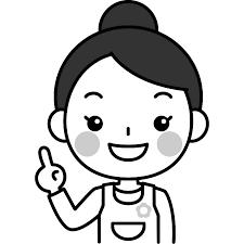 指差しポーズをする保育士の白黒モノクロイラスト かわいい女性の