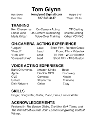 Pleasant Resume For Actors With No Experience For Your 2nd Acting