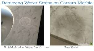 water stain etch mark on marble vs true stain text overlay removing water