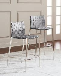 interlude homekennedy stainless woven leather bar stool gray