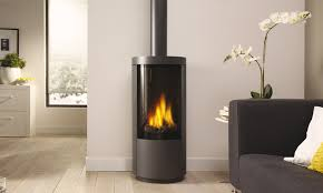 the circo is a freestanding dru gas stove with a unique curved glass pane its
